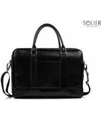 Kožená taška Solier SL02 černá