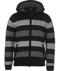 Lee Cooper Knitted Striped Zip Jumper Blk/Char