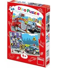 Dino Puzzle Hasiči a Policie 2 x 48 dílků
