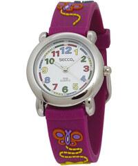 Secco Dívčí hodinky s motýlky - fialové