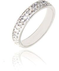 Prsten s krystaly dvě řady rhodiovaný
