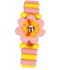 Dřevěné hodinky kytička, růžové