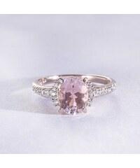 KLENOTA Pozlacený prsten s morganitem a diamanty