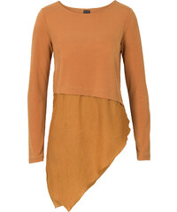 BODYFLIRT MUST-HAVE : T-shirt asymétrique marron femme - bonprix