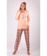 Vienetta Dámské pyžamo dlouhé Kočka s čepicí