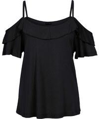 BODYFLIRT Top mit Volant kurzer Arm in schwarz für Damen von bonprix