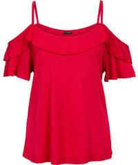 BODYFLIRT Top mit Volant kurzer Arm in rot für Damen von bonprix