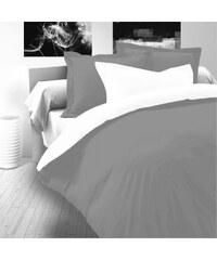 Kvalitex Saténové prodloužené povlečení LUXURY COLLECTION 140x220, 70x90cm šedé / bílé