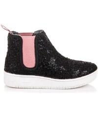 KYLIE Módní černé boty zateplené kožíškem