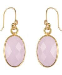 Nilaï Boucles d'oreilles en argent plaqué or ornées de calcédoines - rose