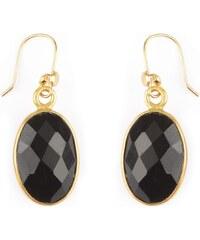 Nilaï Boucles d'oreilles en argent plaqué or ornées d'onyx - noir