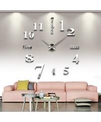 Nástěnné hodiny stříbrné MAXI zrcadlový 3D efekt