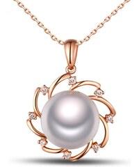 Eppi Bílá perla ve zlatém náhrdelníku s diamanty Maryanne