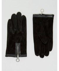 ASOS - Gants en daim avec fermeture éclair et anneau - Noir