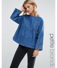 Waven Petite - Annelie - Top oversize à basque et poches - Bleu