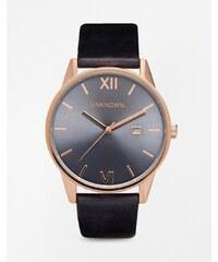 UNKNOWN - Montre à bracelet en cuir et détails or rose - Bleu
