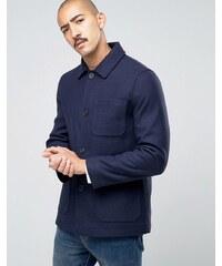 Stanley Adams - Manteau en laine majoritaire avec poches plaquées - Bleu marine