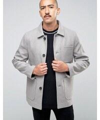 Stanley Adams - Manteau en laine majoritaire avec poches plaquées - Gris