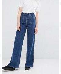 Dr Denim Bisset Wide Leg High Waist Jeans - Bleu
