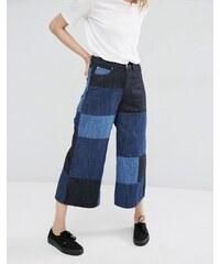 Dr Denim - Lykke - Jupe-culotte en jean à jambe large et motif patchwork - Bleu