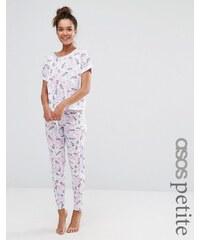 ASOS PETITE - Pyjama leggings et t-shirt imprimé licornes - Multi