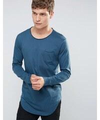 United Colors of Benetton - Top long à manches longues avec poche - Bleu