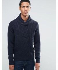 Threadbare - Pull en tricot torsadé avec col châle - Bleu marine
