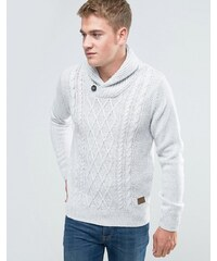 Threadbare - Pull en tricot torsadé avec col châle - Blanc