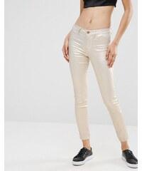 Vila - Gekürzte Metallic-Skinny-Jeans - Gold
