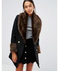 Love & Other Things - Manteau avec col et poignets en fausse fourrure - Noir