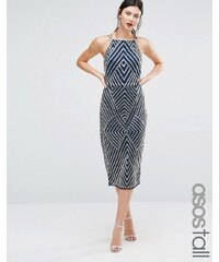 ASOS TALL - Robe fourreau avec ornements motif chevrons - Bleu marine