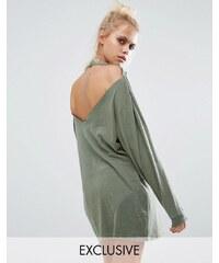 Milk It - Vintage - Langärmliges Oversized-T-Shirt im Used-Look mit Rückenausschnitt - Grün