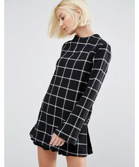 Selected Tunic Top in Check - Multi