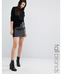 Vero Moda Tall - Mini-jupe enduite à fermetures éclair - Noir