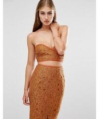 Missguided - Wickelkleid mit Bandeau-Oberteil aus floraler Spitze - Orange