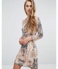Miss Selfridge Long Sleeve Embellished Mini Dress - Rose