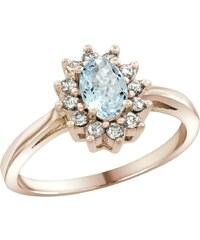 KLENOTA Prsten z růžového zlata s akvamarínem a diamanty