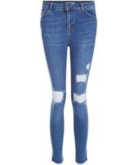 New Look Teenager – Blaue, zerrissene Jeans mit gestuftem Saum