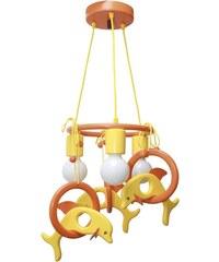Prezent Závěsný lustr DELFÍN oranžová/žlutá/dřevo 28136