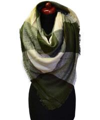 Velká šála 69pz013-52.14 - zelenobéžová kostkovaná