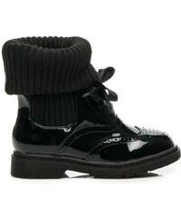 MAGIC FAIRY Stylové černé boty se zateplením