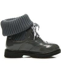 MAGIC FAIRY Stylové šedé boty se zateplením