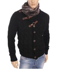 Damon Gilet Carisma - Veste gilet col fourré noir en laine homme hiver 2016