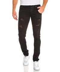 Blz Jeans Jeans Jean homme noir troué nervuré