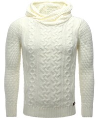 Carisma Pull Pull à capuche homme Pull 7268 blanc