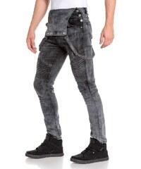 Blz Jeans Jeans Salopette grisé délavé et nervuré pour homme