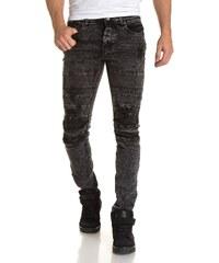 Gov Denim Jeans Jean slim homme noir délavé fashion