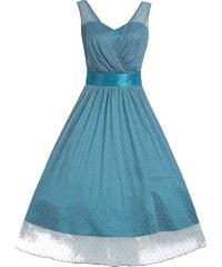 LINDY BOP Dámské retro šaty Ella Slate Blue tyrkysové