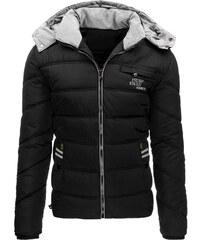 Moderní černá zimní bunda s kapucí