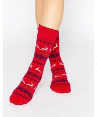 Totes - Original - Chaussettes à imprimé renne - Rouge